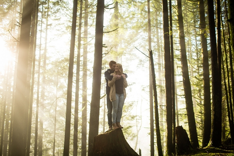 engaged couple in golden ears park