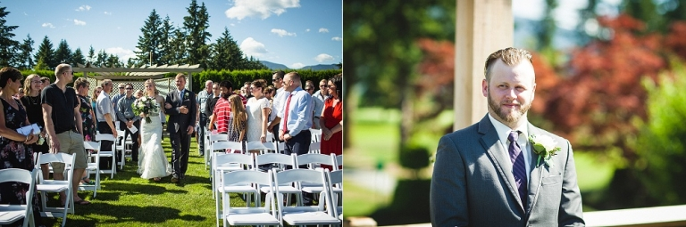 bride walking down the aisle at outdoor ceremony